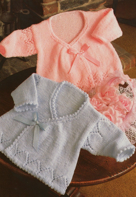 Knitting Pattern Pdf For Baby Girls Wrap Cardigans In Sizes 14