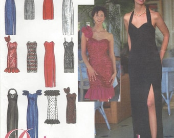 90s Womens Design Your Own Evening Gown Neckline and Trim Variations Simplicity Sewing Pattern 8970 Size 10 12 14 Bust 32 1/2 to 36 FF