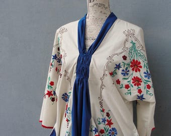 Embroidered Dress, 4th of July, Vintage Embroidery, Linen Dress, White, Red and Blue Floral Dress, Linen size 14 / 16 EU size 44/46