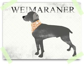Weimaraner Art - Fine art print , Weimaraner Dog , gray, silhouette
