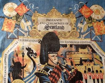 Vintage Tea Towel - Pure Cotton - Scottish Souvenir - Pageants and Ceremonies of Scotland