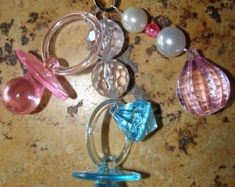 Baby Pink and Blue Pacifiers Tablecloth Weights