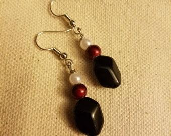Black, red and white beaded earrings