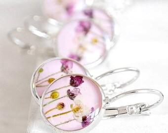 Bridesmaid earrings set Lavender earrings for bride Real flowers earrings Wedding earrings Bridal earrings for bridesmaid Plum earrings wife