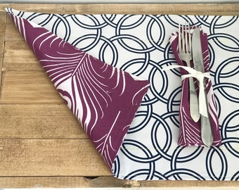 Placemat Reversible Geometric Easter Spring time Ultraviolet Peacock Purple White Cotton Set Eco Friendly