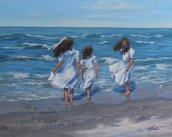Beach Day - Large Figurative Beach Painting