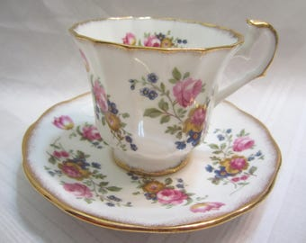 Vintage Elizabethan Bone China Cup and Saucer Made in England Pink Floral Pattern  On Both Pieces Pat. # 2400