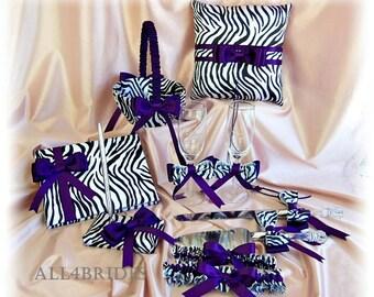 Purple and Zebra print Wedding Ring Pillow, Basket,  guest book, pen set, glasses, cake knife set, bridal garter set 11pc, Regency Purple