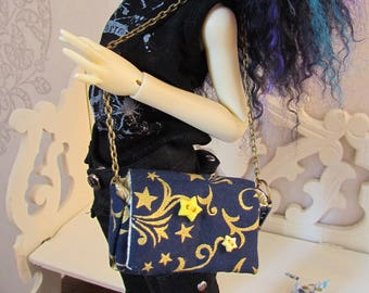 Stars in the Night Messenger Bag, lined with gold cotton for MSD BJDolls, Fashion Royalty, Tonner, Giant MH, 40cm+ dolls