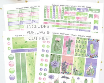 Succulent Dreams - Weekly Kit for Classic Happy Planner   Printable Planner Stickers   Instant Download   JPG, PDF, Silhouette Cut File