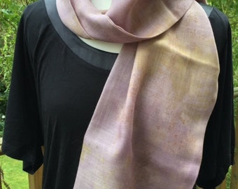 Eco printed scarf, hand dyed scarf, pure wool, long scarf, Eco scarf, lilac scarf
