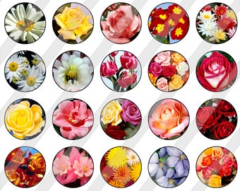 """1"""" Bottlecap Circles Digital Collage Sheet - Printable Flowers Circles For Bottlecaps Jewelry Cardmaking Magnets Stickers 0080"""
