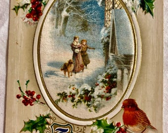 Vintage Christmas Postcard Couple in the Snow with Dog and Red Cardinal
