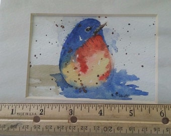 Original watercolor bluebird of happiness
