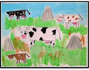 "Happy Cows Baby Folk Art Happy Art Kids Art 8.5"" x 11"" Watercolor Paint on Paper Original whimsical Nursery ArtArt"