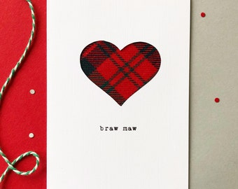 Scottish Mother's Day Card - Mother's Day Card - Scottish Tartan Card - Made In Scotland - Braw Maw