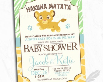 Lion Baby Shower Invitations, lion, safari, animals, jungle, digital file, printable