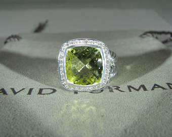 DAVID YURMAN Albion WITH 11 mm Lemon Citrine and Pave Diamonds Ring Size 6 Old Version