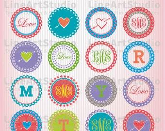 SVG Set 20 Circle Monogram Valentine's Day Circle Frames - SVG Cut Files - Monogram Valentine Day SVG Frames Cricut Valentine Svg Silhouette