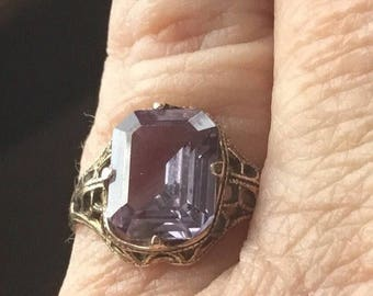 Vintage gold filled filigree ring with purple stone