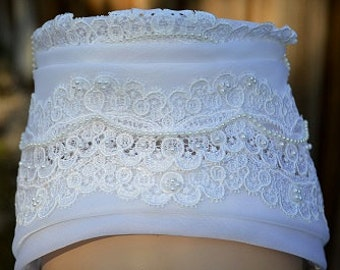 Vintage Wedding Cap with Chiffon, Lace & Faux Pearls