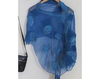 Nuno Felted Poncho - Louise in blue