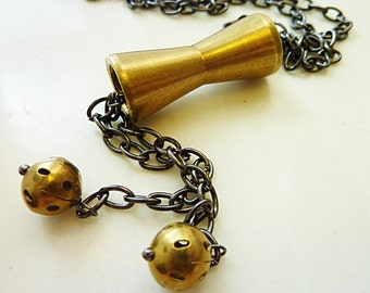 Pendulum Lariat Necklace, Antique Brass Gold Cone, Vintage Cut Out Beads, Gunmetal Chain