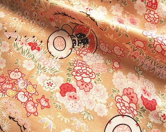 Japanese cotton fabric printed floral traditional 110 * 50 cm