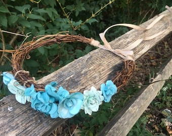 Easter Hair Crown, Flower Crown, Blue Floral Crown, Blue Flower Hair Piece, Hair Accessory, Hair Accessories, Blue Tiara, Floral Hair Wreath