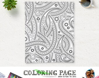 SALE Coloring Page Paisley Adult Coloring Pages Printable Coloring Book Adult AntiStress Art Therapy Instant Download Zen Coloring Download