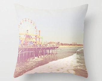Santa Monica Pier Throw Pillow California Photography Beach summer waves Ocean surf Los Angeles Decor