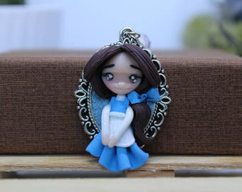 Cameo necklace Belle The Beauty and The Beast / polymer clay polymerclay disney princesses gift for her gift for women