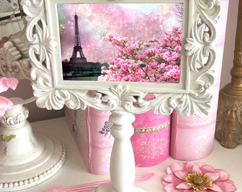 Paris Photo Pedestal Frame, Paris Pink Eiffel Tower Decor, Shabby Chic Decor, Eiffel Tower Shabby Chic White Frame, Paris Shabby Chic Decor
