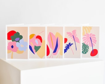 Set of Botanical Inspired Greeting Cards (10 Cards, 5 Unique Designs)