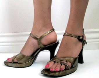Vintage 80s Charles Jourdan Shoes 80s Gold Platform High Heel Sandals 9