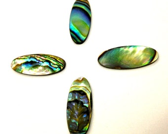 4 Pieces Natural, Un-Dyed Abalone Flat Cabochon Shell Stones, 21x8mm, 18x9mm, Vintage