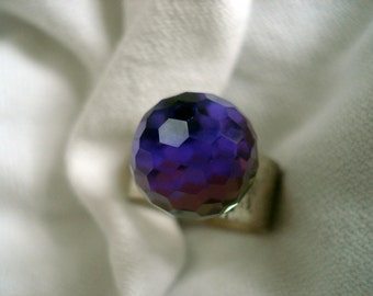 Rare LAST ONE! Vintage Swarovski Purple Antique Sterling Antique Silver Plated Adjustable  Prism Disco Ball Ring (10MM)
