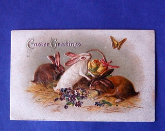 Vintage Bunnies & Butterfly Winsch Easter Postcard, Embossed