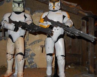"12"" 12 inch 1/6 Star Wars Clone Wars Clone Trooper Lot of 2 Commander Cody Yellow Trooper action figures Loose"