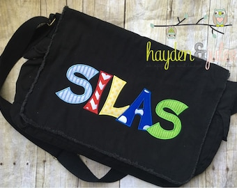 Applique Name Primary Colors Messenger Bag, Diaper Bag, Choose Your Fabric