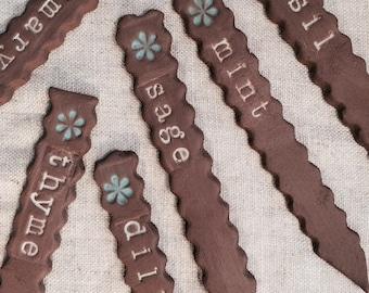 Ceramic Plant Garden Herb Stakes Handmade Pottery