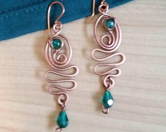 Elegant Copper Wire Earrings
