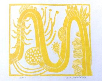 linocut - PATH // 8x8 art print // printmaking // block print // yellow // nature art // original // square wall art // strange // plants