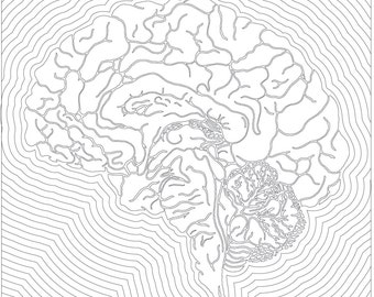 Brain - Coloring Page - Printable Wall Art - Instant Download