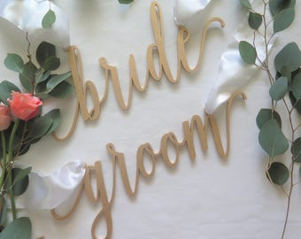 Chair Signs/Laser Cut//bride and groom/Wedding//Shower/Engagement