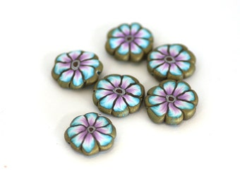 Polymer Clay Flower Beads, Turquoise and Purple Pink Disc Beads, Millefiori Slices 6 Pieces