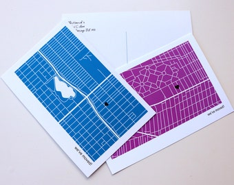 Printable Custom Map of New Neighborhood We Moved Announcement Postcards