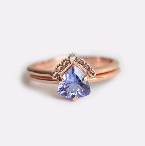 Beautiful Tanzanite Engagement Ring Set Diamond Ring 14k Gold 18k SX13
