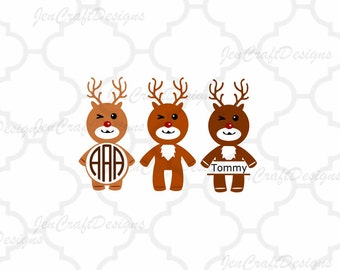 Winking Reindeer Monogram Frame SVG,EPS Png DXF,digital download files for Silhouette Cricut vector Clip Art graphics Vinyl Cutting Machines