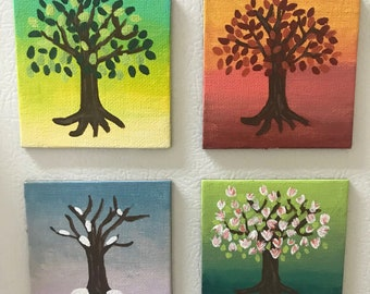 Four Seasons Magnets, Refrigerator Magnets, Art, Acrylic Painting, Household Decor
